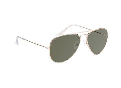 Gepolariseerde zonnebril | Pilotenbril | Zilver | Groene glazen | 135 MM