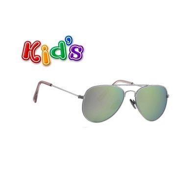 Kinderzonnebril | Pilotenbril | Grijs-groene glazen | 114 MM