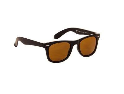 Gepolariseerde zonnebril | Mat zwart met bruine glazen | 140 MM