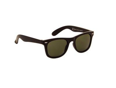 Gepolariseerde zonnebril | Mat zwart met groene glazen | 140 MM