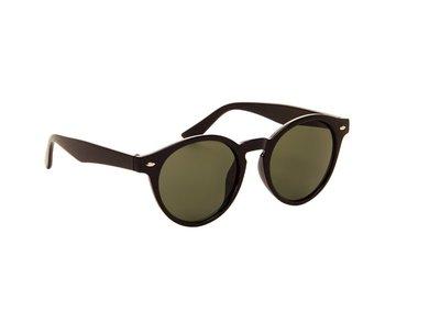 Ronde dames zonnebril | Zwart met groene glazen | 142 MM