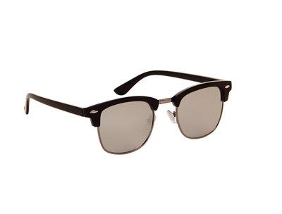 Zonnebril zwart met grijze spiegelende glazen | 138 MM
