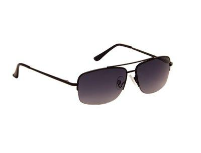 Heren zonnebril | Zwart met donkergrijze lenzen | 141 MM