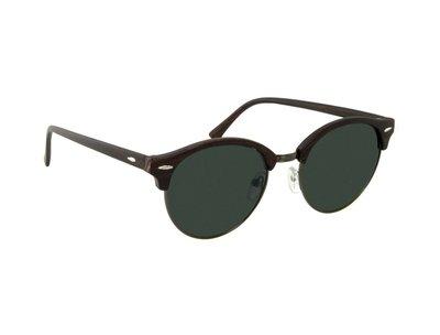 Houtlook zonnebril | Bruin met donkergrijze glazen | 140 MM