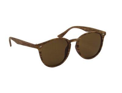 Houtlook zonnebril | Lichtbruin met bruine glazen | 145 MM