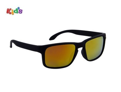 Kinderzonnebril | Zwart | Oranje glazen | 125 MM