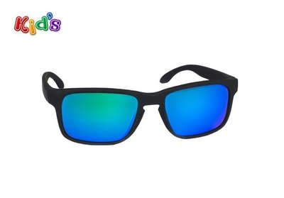 Kinderzonnebril   Zwart   Blauw-groene glazen   125 MM