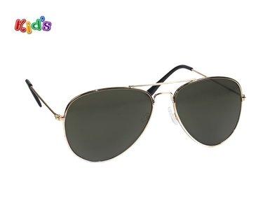 Kinderzonnebril | Pilotenbril | Groene glazen | 131 MM