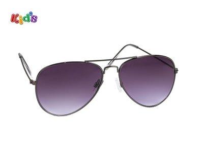 Kinderzonnebril | Pilotenbril | Donkergrijze glazen | 131 MM