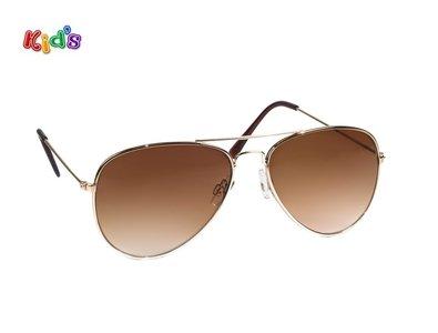 Kinderzonnebril | Pilotenbril | Bruine glazen | 131 MM