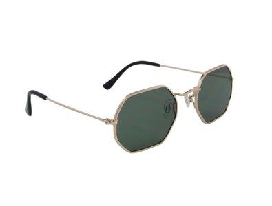 Zonnebril met zeshoekige glazen | Zilver-Groen | 132 MM