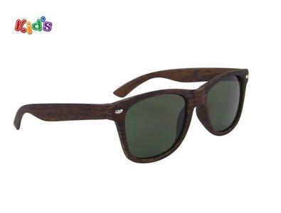 Kinderzonnebril | Houtlook | Donkerbruin met groene glazen | 127 MM
