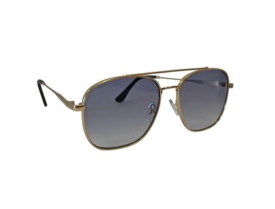 Heren zonnebril | Goudkleurig met blauwe glazen | 140 MM