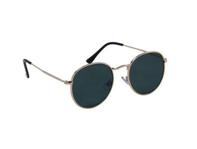 Gepolariseerde ovale zonnebril   Goudkleurig met groene glazen   132 MM