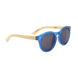 houtzen zonnebril, ronde glazen, blauw