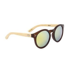 houtzen zonnebril, ronde glazen, bruin