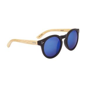 houtzen zonnebril, ronde glazen, zwart