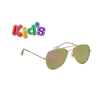 Kinderzonnebril, Pilotenbril, Havana, Paars-groen
