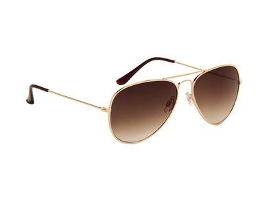 Gepolariseerde zonnebril | Pilotenbril | Lichtbruine glazen | 140 MM