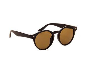 Ronde dames zonnebril | Zwart met bruine glazen | 142 MM