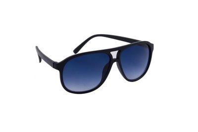 Heren zonnebril | Zwart met blauwe glazen | 142 MM