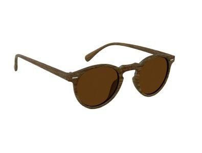 Ronde houtlook zonnebril | Lichtbruin met bruine glazen | 128 MM