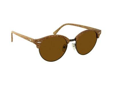 Houtlook zonnebril | Lichtbruin met bruine glazen | 140 MM