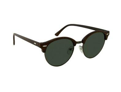 Houtlook zonnebril | Bruin met groene glazen | 140 MM