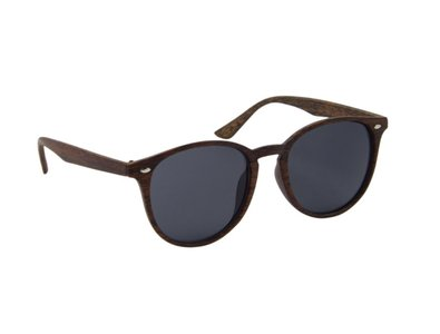 Houtlook zonnebril | Bruin met donkergrijze glazen | 145 MM