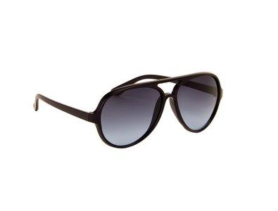 Gepolariseerde heren zonnebril | Zwart met grijs-blauwe glazen | 140 MM